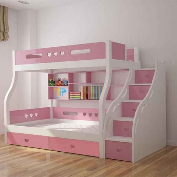 Giường tầng màu hồng đáng yêu dành cho bé gái